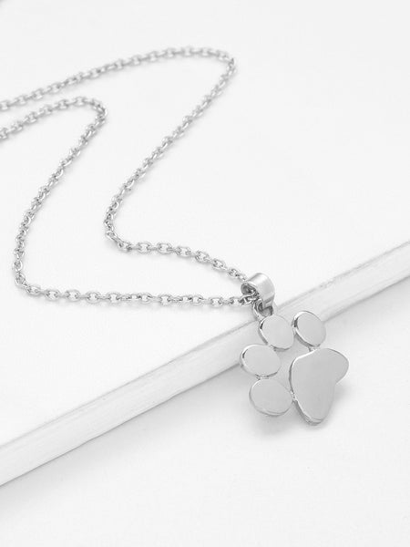 Ladies Silver Footprint Pendant Necklace