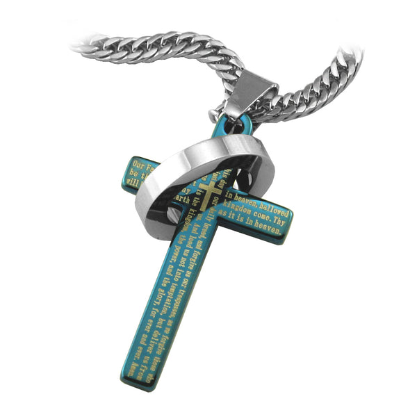 "Blue Lord's Prayer Halo Ring Cross Pendant in English Scripture with 26"" curb link chain... - Spiritualstore4u"