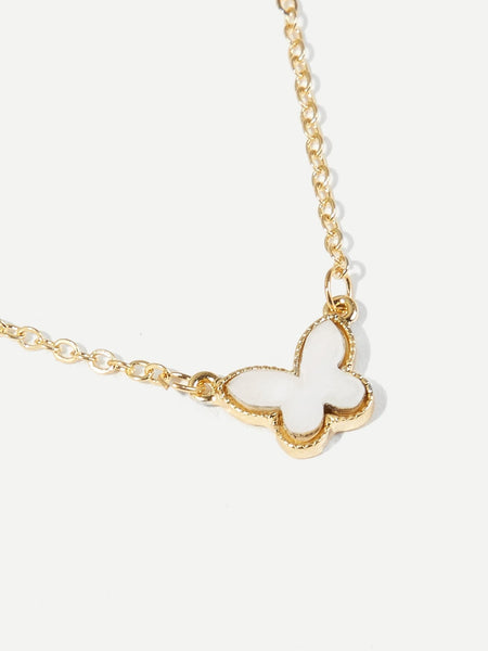 Ladies Gold Butterfly Pendant Chain Necklace