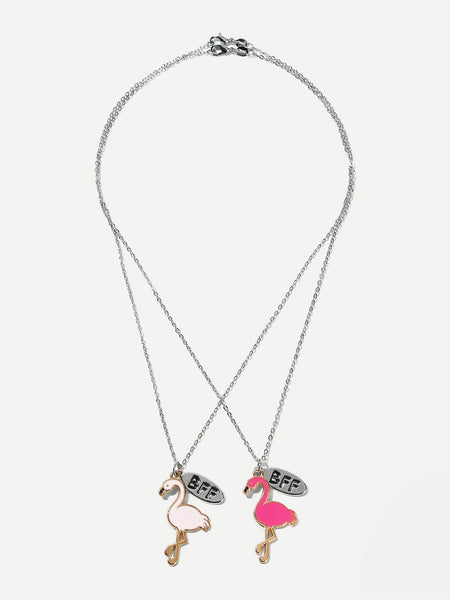 Girls Flamingo Pendant Necklace - 2 Piece Set