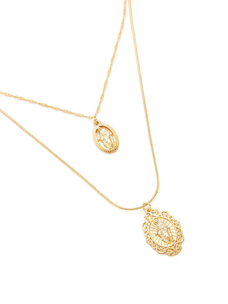 Ladies Gold Religious Oval Round Pendant Chain Necklace - Set 2pcs