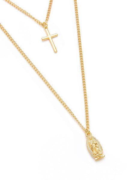 Double Layered Gold Cross Necklace With Picture Charm - Unisex