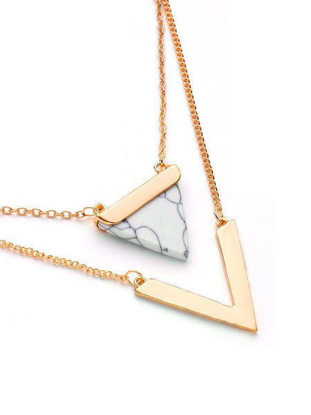 Women's Metal V Shaped And Triangle Design Layered Necklace