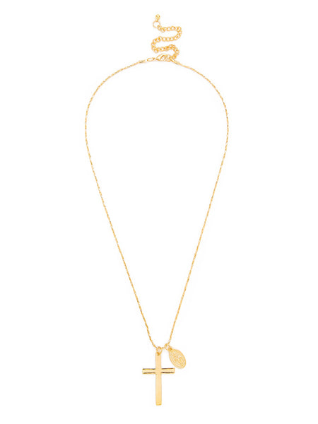 Men's Gold Cross & Sequin Pendant Chain Necklace