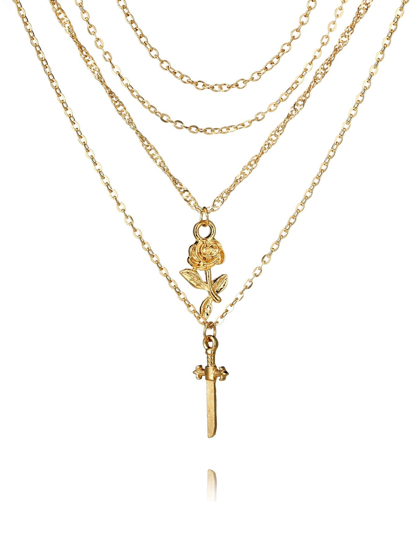Women's Gold Cross Pendant Layered Chain Necklace