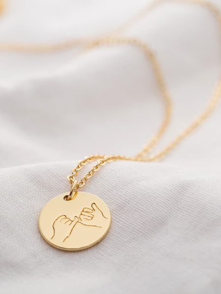 Ladies Gold Hand Engraved Round Pendant Necklace