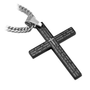 "Stainless Steel Black Serenity Cross Pendant with English Scripture and 26"" Curb Chain... - Spiritualstore4u"