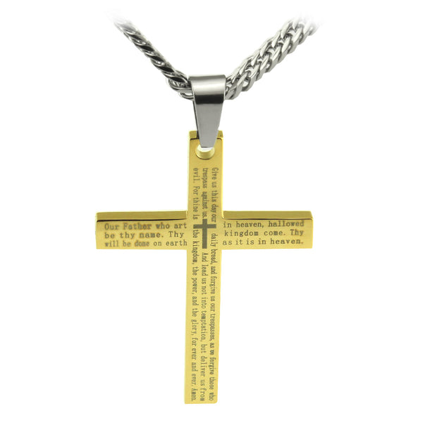 "Stainless Steel Gold Lords Prayer Cross Pendant with English Scripture and 26"" curb link chain... - Spiritualstore4u"
