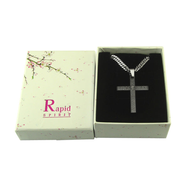 "The Lords Prayer Black Cross Pendant in stainless steel with English Scripture and 26"" curb chain.. - Spiritualstore4u"