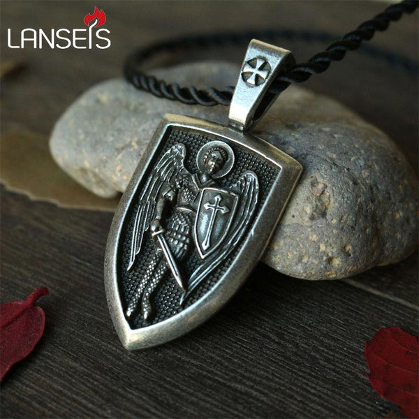 Men's Archangel St.Michael Protect Me Saint Shield Protection Russian Orthodox Pendant Necklace
