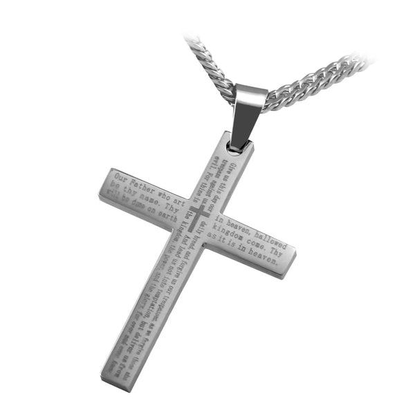 "The Lords Prayer Cross Pendant in stainless steel with English Scripture and 26"" curb link chain.. - Spiritualstore4u"