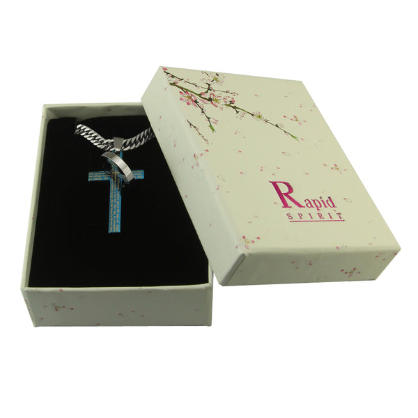 "Blue Serenity Halo Ring Cross Pendant in English Scripture with 26"" lobster clasp curb link chain.. - Spiritualstore4u"