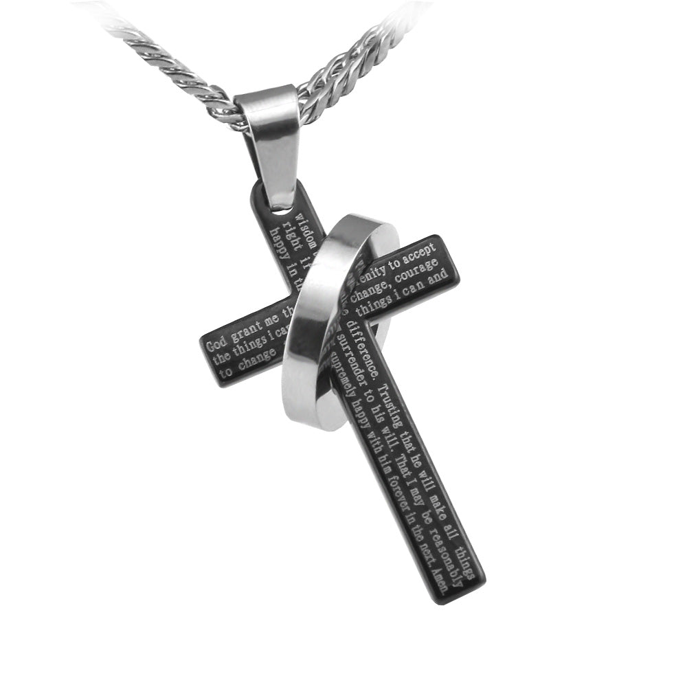 "Black Serenity Halo Ring Cross Pendant in English Scripture with 26"" lobster clasp curb link chain - Spiritualstore4u"