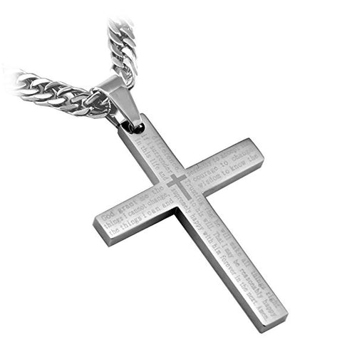 "Stainless Steel Silver Serenity Cross Pendant with English Scripture and 26"" curb link chain... - Spiritualstore4u"
