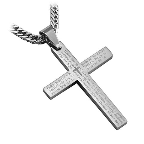 "Stainless Steel Spanish Scripture Lords Prayer Cross Pendant with 26"" lobster clasp curb chain... - Spiritualstore4u"