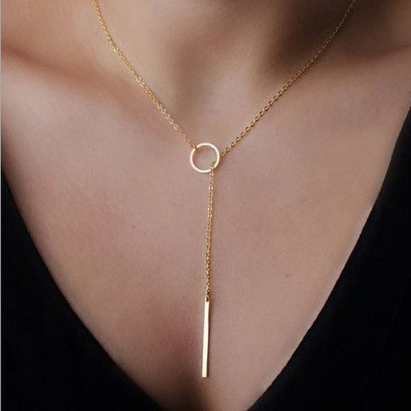 Ladies Gold Chic Y Shaped Circle Lariat Style Chain Jewelry Necklace