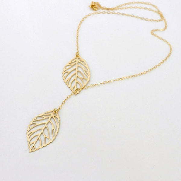 Women's Simple Gold/Silver Metal Double Leaf Pendant Alloy Choker Necklace