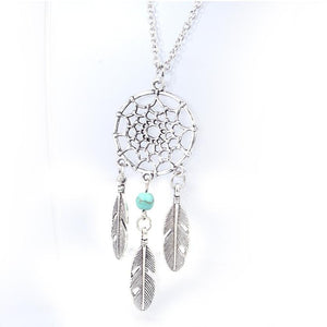 Women's New  Fashion Statement Silver Round Alloy Retro Dream Catcher Pendant Chain Necklace