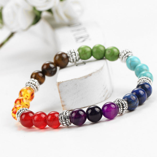 Women's Colorful Natural Chakra Stone Beads Fashion Bracelet