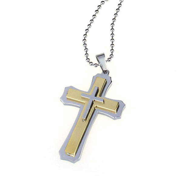 Men's Stainless Steel Cross Pendant Necklace - Unisex - Whatever is not yours abandon it! - Spiritualstore4u