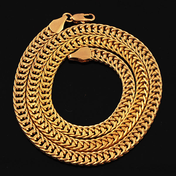 Luxury Filled Cuban Curb Link Gold Plated Fashion Necklace Jewelry Chain - Unisex