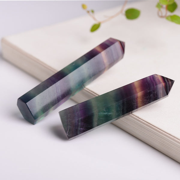 Natural Hexagonal Crystal Quartz Healing Fluorite Wand Stone Purple Green Gem