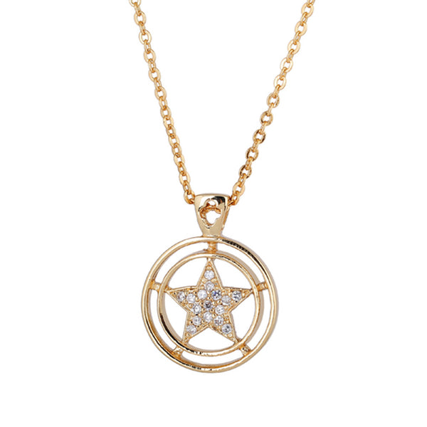 Women's Golden Hollow Out Star Following the Sun Shape Zircon Pendant Necklace