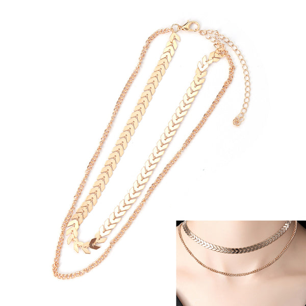 Bohemian Sequins Fish Bone Choker Double Layer Gold Color Necklace for Women - Jewelry Accessories