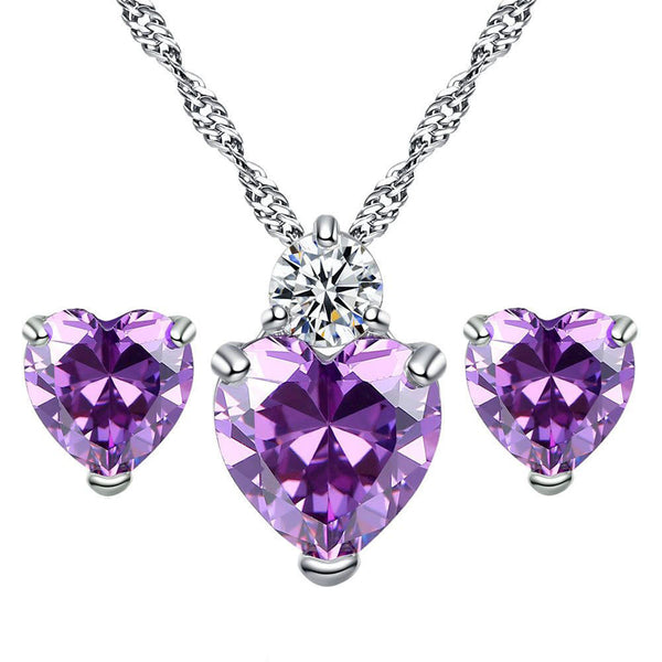 Ladies Heart Crystal Rhinestone Jewelry Necklace Earring Sets From RAPID SPIRIT - Spiritualstore4u