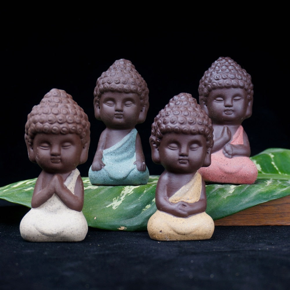 Small Buddha Tathagata India Yoga Statue Monk figurines - Ceramic Crafts Decorative Ornaments