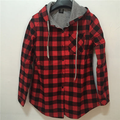 Casual Red Plaid Shirt Long Sleeve