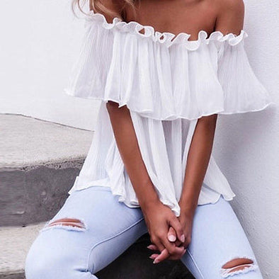 Women's Chiffon Off Shoulder Tops