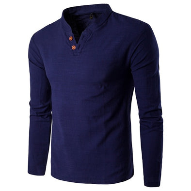 V Neck Button Long Sleeve Shirts