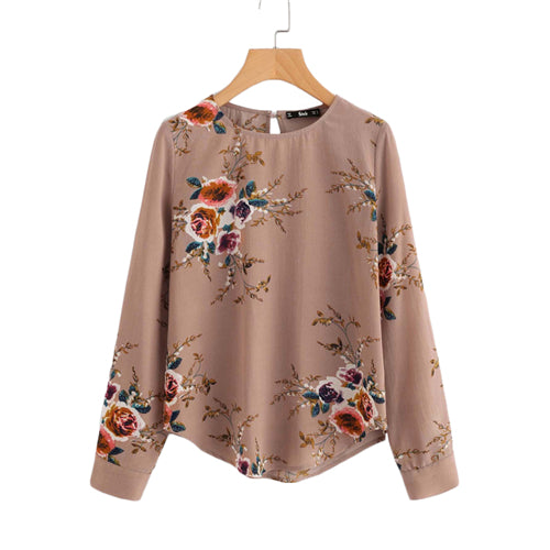 Flower Keyhole Back Curved Long Sleeve