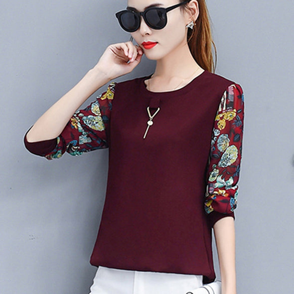 Blouse Patchwork Lace Long Sleeve