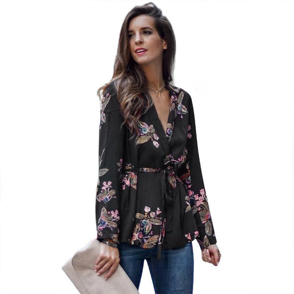 Floral Blouses Women Sashes Long Sleeve