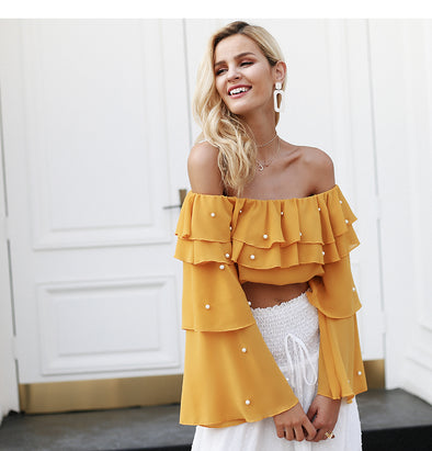 Off-shoulder Pearl Sexy Blouse