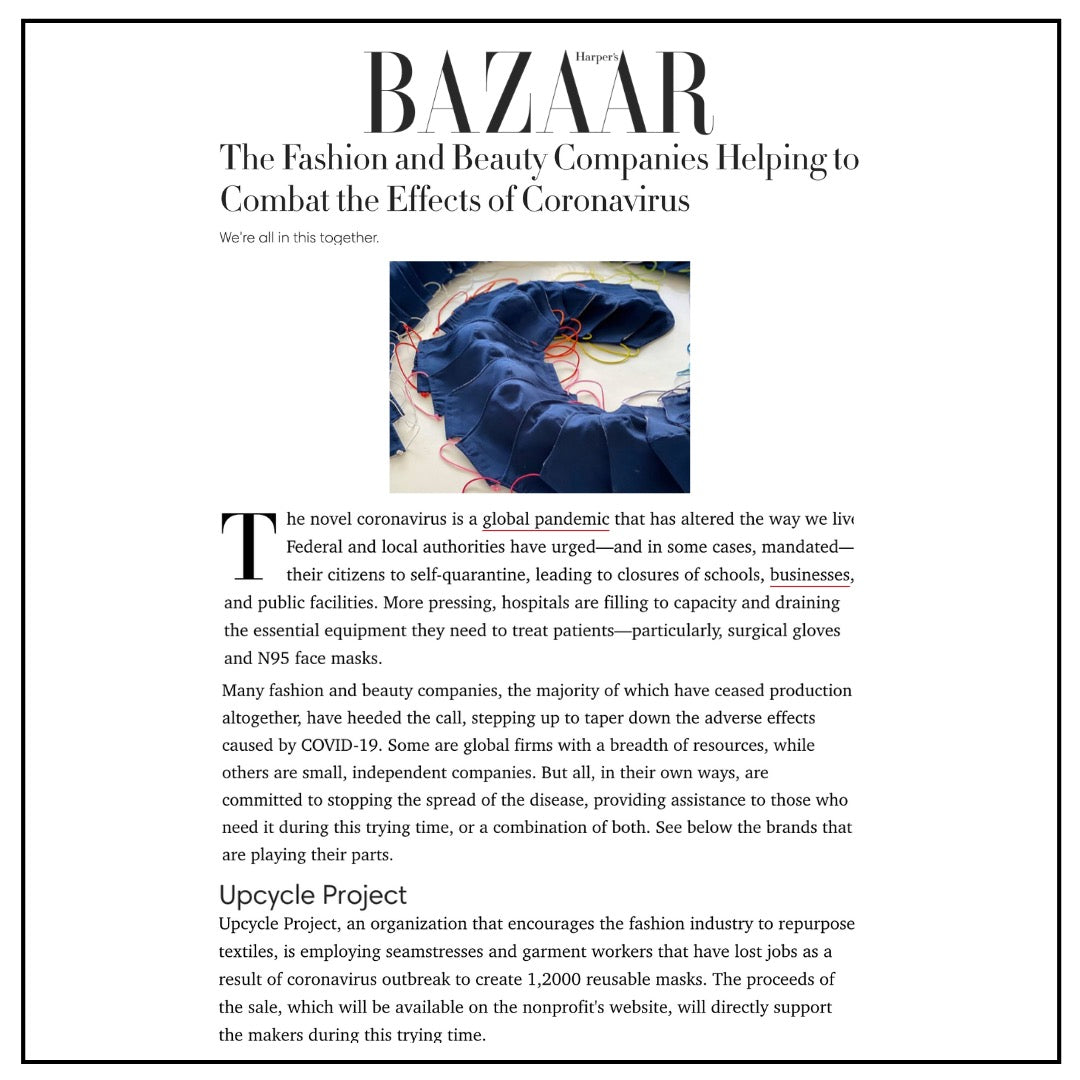 The Upcycle Project Foundation COVID-19 Response Make Face Masks Create Jobs Harper's Bazaar