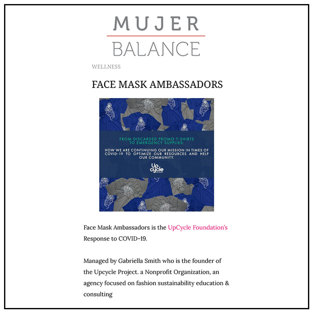 The Upcycle Project Foundation COVID-19 Response Make Face Masks Create Jobs Mujer Balance