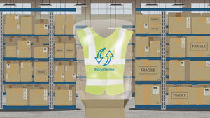 Cartoon animation of a hi-vis vest in a recyclable plastic bag.