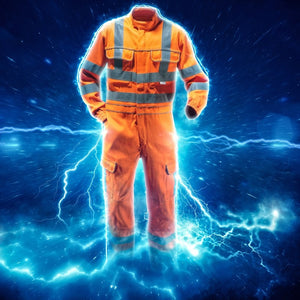 A graphic of a PULSAR hi-vis orange garment with electric bolt effects