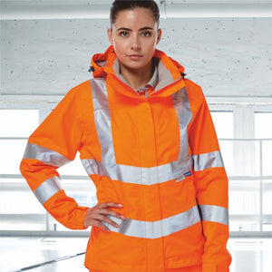 A woman wearing PULSAR hi-vis orange clothing on a white background