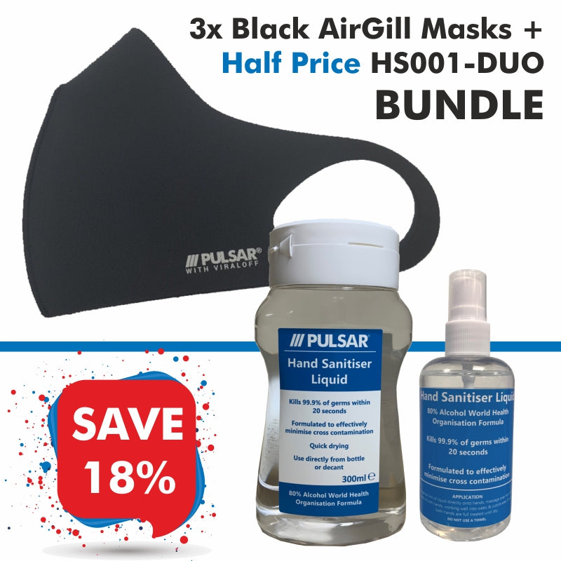 3 Black AirGill Face Masks + Half Price HS001-DUO