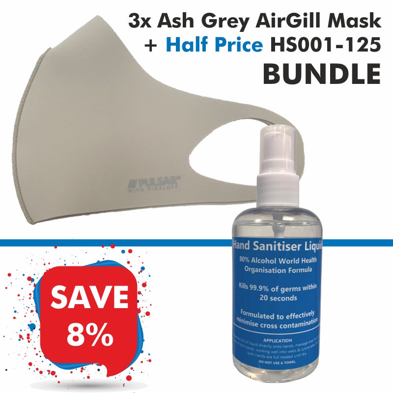 3 Ash Grey AirGill Face Masks + Half Price HS001-125