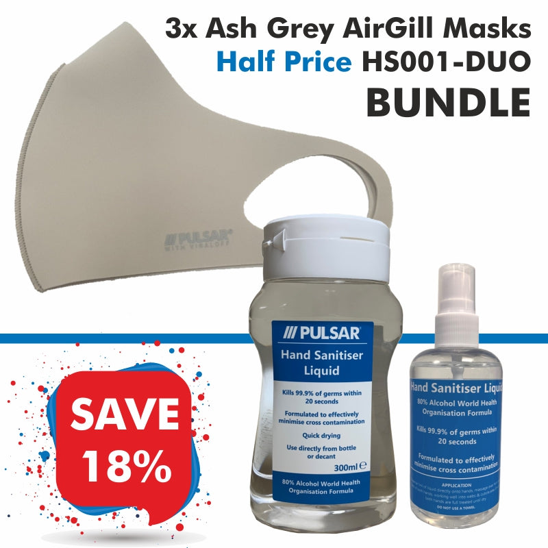 3 Ash Grey AirGill Face Masks, Half Price HS001-DUO