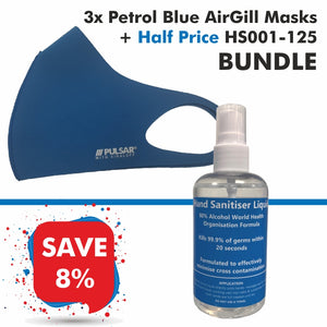 3 Petrol Blue AirGill Face Masks + Half Price HS001-125