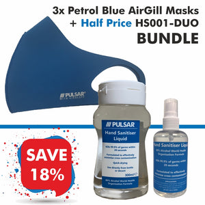 3 Petrol Blue AirGill Face Masks + Half Price HS001-DUO