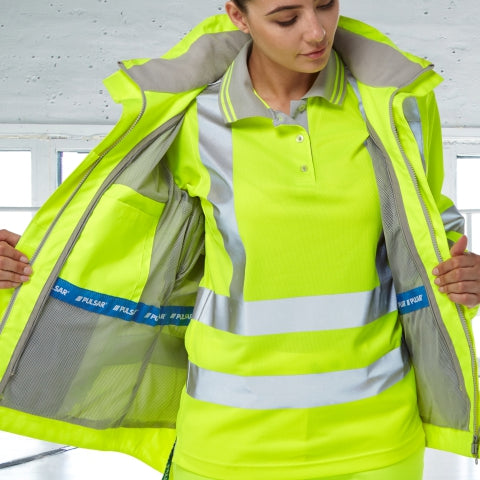 Woman wearing PULSAR® high visibility yellow coat