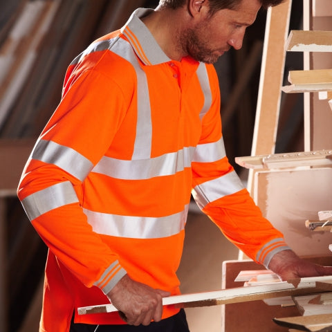 Man wearing PULSAR® high visibility orange polo shirt
