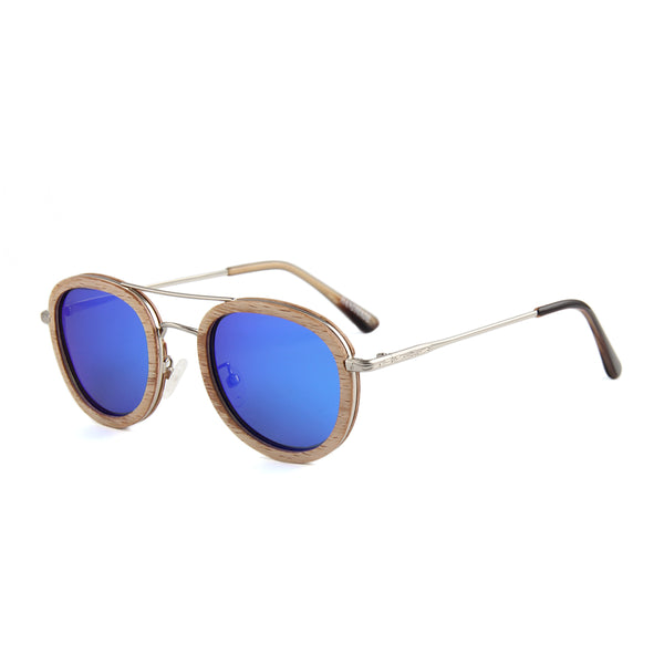 OPTA SG-040 Round Designer Polarized Skateboard Ebony Wood Stainless Steel Frame Sunglasses with 100% UV Protection for Unisex (Beech Wood with Blue Lens)